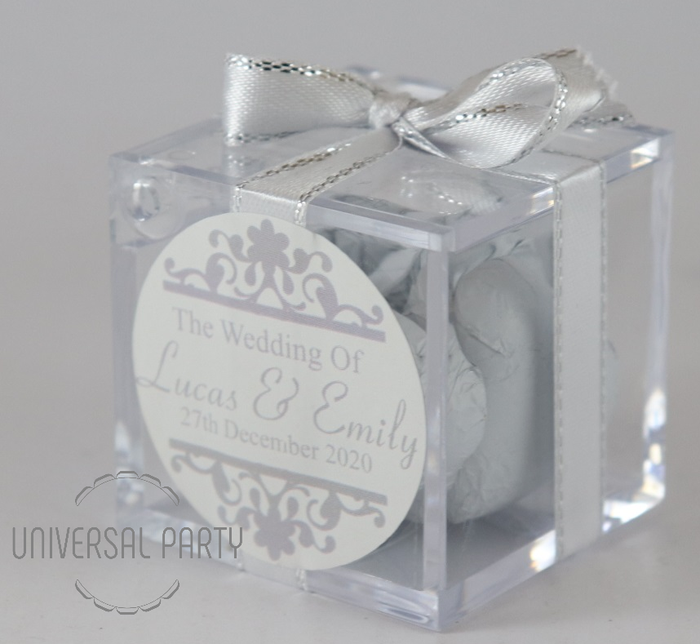Personalised Square Acrylic Box Filled With White Foiled Wrapped Chocolate Hearts