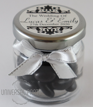 Personalised Glass Round 60ml Jar Filled With Black Jelly Beans - Patterned