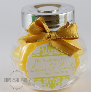 Personalised Glass Mini 50ml Jar Filled With Yellow Jelly Beans - Patterned