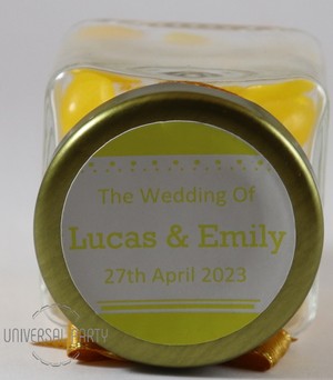 Personalised Square 80ml Jar Filled With Yellow Jelly Beans