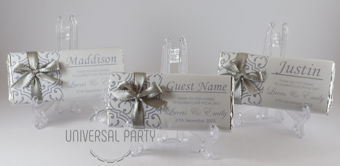 Personalised Individual Guest Names Grey Silver Pattern Chocolate Bar With Ribbon