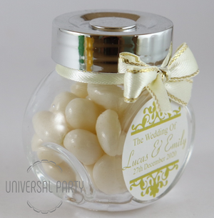 Personalised Glass Mini 50ml Jar Filled With White Jelly Beans - Patterned