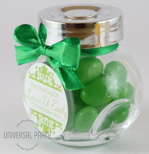 Personalised Glass Mini 50ml Jar Filled With Green Jelly Beans - Patterned