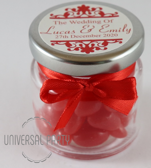 Personalised Glass Round 60ml Jar Filled With Jelly Beans - Patterned
