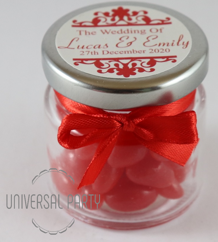 Personalised Glass Round 60ml Jar Filled With Red Jelly Beans - Patterned