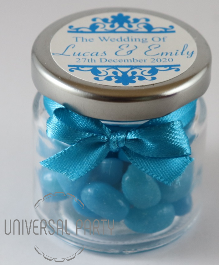 Personalised Glass Round 60ml Jar Filled With Blue Jelly Beans - Patterned