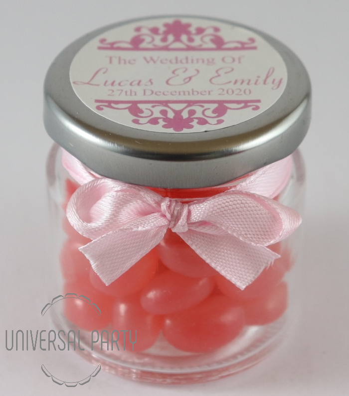 Personalised Glass Round 60ml Jar Filled With Pink Jelly Beans - Patterned