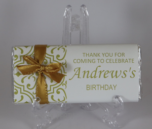 Personalised Gold Pattern Chocolate Bar With Ribbon