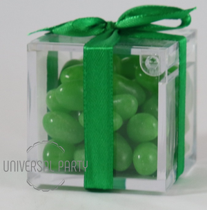 Personalised Square Acrylic Box Filled With Green Jelly Beans - Solid Patterned