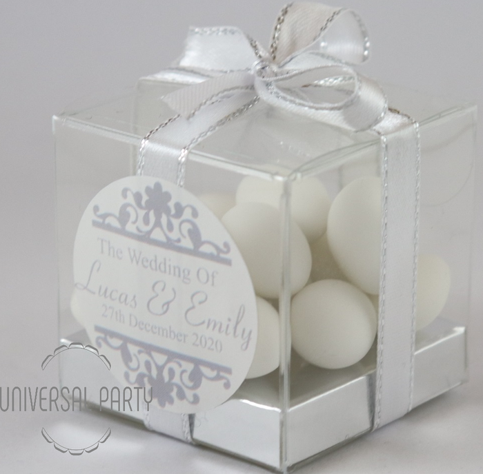Personalised PVC Box Filled With White Sugared Almond
