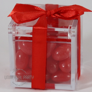 Personalised Square Acrylic Box Filled With Red Jelly Beans - Solid Patterned
