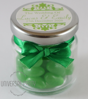 Personalised Glass Round 60ml Jar Filled With Green Jelly Beans - Patterned