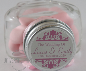 Personalised Glass Heart Shaped 60ml Jar Filled With Pink Sugared Almond