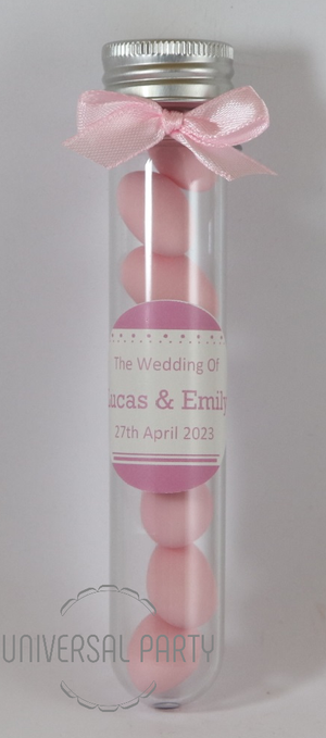 Personalised Acrylic Test Tube Jar Filled With Pink Sugared Almond