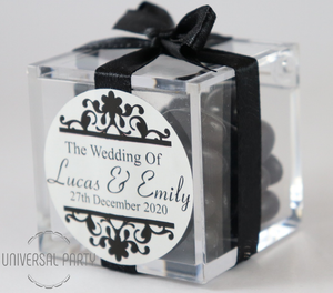 Personalised Square Acrylic Box Filled With Black Jelly Beans