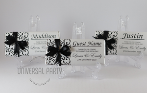 Personalised Individual Guest Names Black Pattern Chocolate Bar With Ribbon