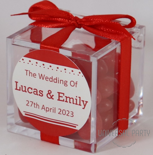 Personalised Square Acrylic Box Filled With Red Jelly Beans