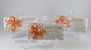 Personalised Individual Guest Names Orange Pattern Chocolate Bar With Ribbon