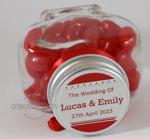 Personalised Glass Heart Shaped 60ml Jar Filled With Red Jelly Beans - Solid Patterned