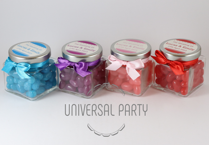 Personalised Glass Square 80ml Jar Filled With Jelly Beans - Solid Patterned