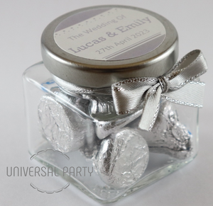 Personalised Glass Square 80ml Jar Filled With Hersheys Kisses Chocolate