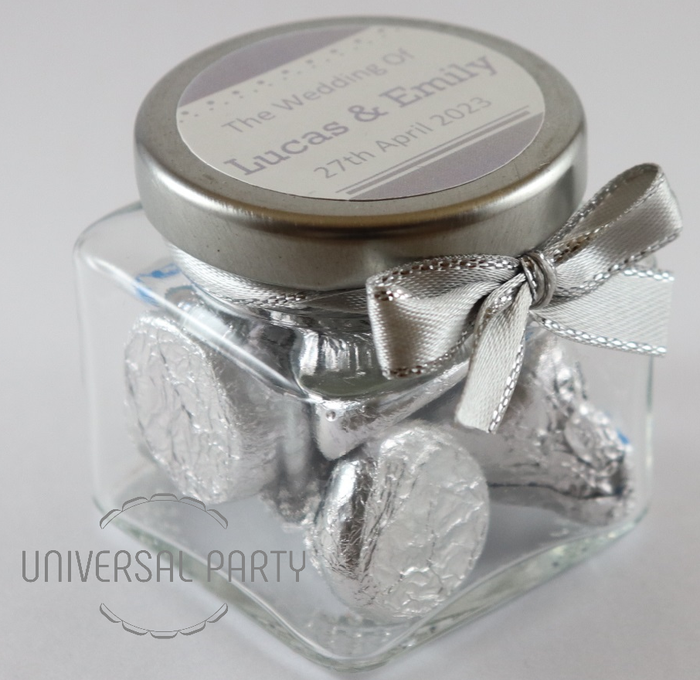 Personalised Glass Square 80ml Jar Filled With Hersheys Kisses Chocolate - Silver Solid Patterned