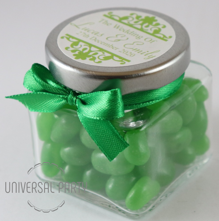 Personalised Square 80ml Jar Filled With Green Jelly Beans