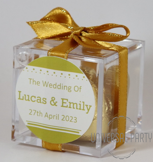 Personalised Square Acrylic Box Filled With Gold Foiled Wrapped Chocolate Hearts