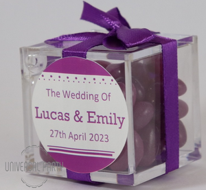Personalised Square Acrylic Box Filled With Purple Jelly Beans - Solid Patterned