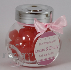 Personalised Glass Mini 50ml Jar Filled With Jelly Beans - Solid Pattern