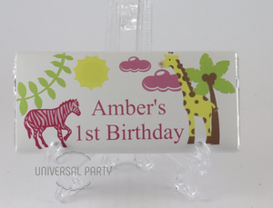 Personalised Pink Safari Themed Chocolate Bar