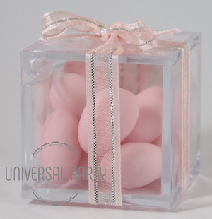 Personalised Square Acrylic Box Filled With Pink Sugared Almonds - Solid Patterned