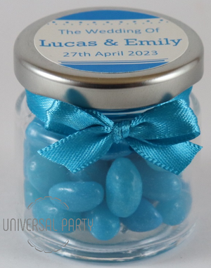 Personalised Glass Round 60ml Jar Filled With Blue Jelly Beans - Solid Patterned