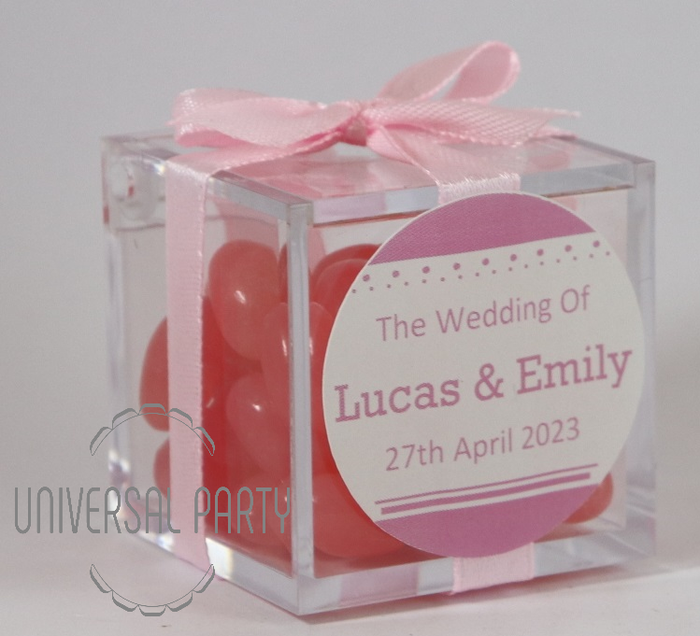 Personalised Square Acrylic Box Filled With Pink Jelly Beans - Solid Patterned