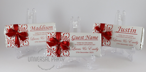 Personalised Individual Guest Names Red Pattern Chocolate Bar With Ribbon