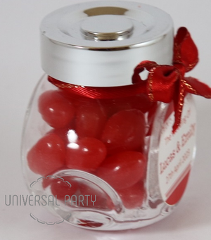 Personalised Glass Mini 50ml Jar Filled With Red Jelly Beans - Solid Patterned