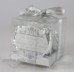 Personalised Square PVC Box Filled With Silver Foiled Wrapped Chocolate Hearts