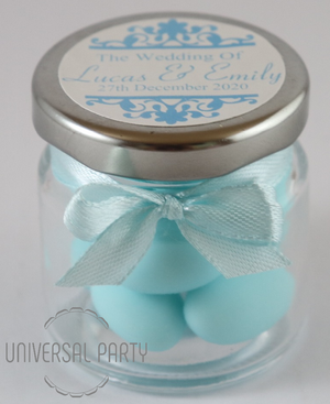 Personalised Round 60ml Jar Filled With Blue Sugared Almond