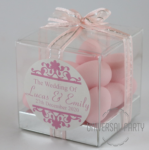 Personalised PVC Box Filled With Pink Sugared Almond