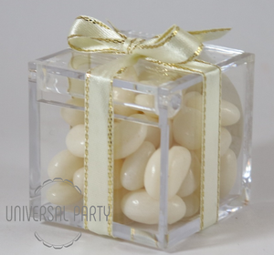 Personalised Square Acrylic Box Filled With White Jelly Beans