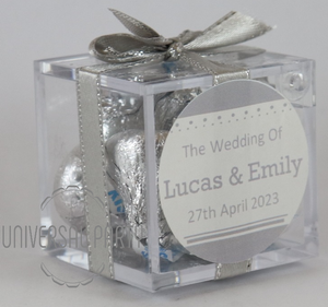 Personalised Square Acrylic Box Filled With Hersheys Kisses Chocolate