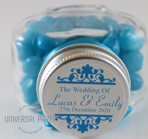 Personalised Glass Heart Shaped 60ml Jar Filled With Blue Jelly Beans - Patterned
