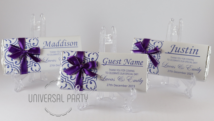 Personalised Individual Guest Names Purple Pattern Chocolate Bar With Ribbon