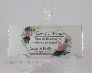 Personalised Individual Guest Names Floral Pattern Chocolate Bar