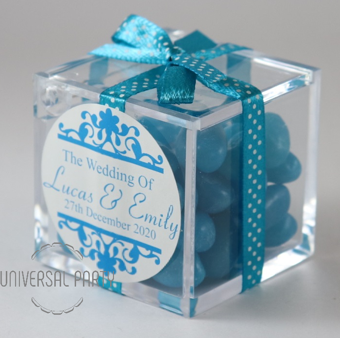 Personalised Square Acrylic Box Filled With Blue Jelly Beans - Patterned