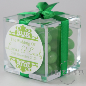 Personalised Square Acrylic Box Filled With Green Jelly Beans - Patterned