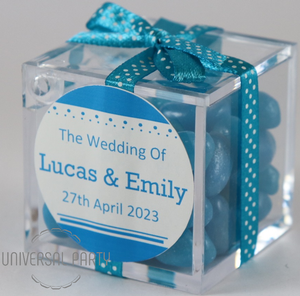 Personalised Square Acrylic Box Filled With Blue Jelly Beans - Solid Patterned