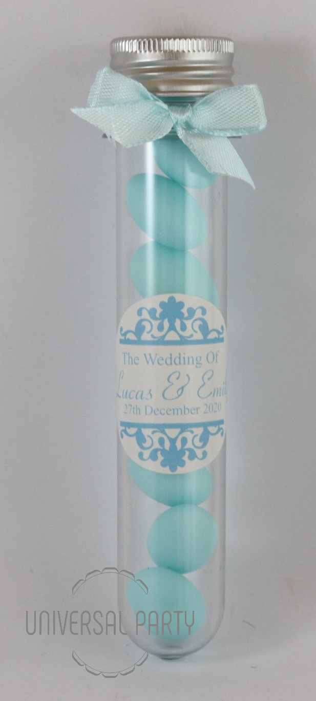 Personalised Acrylic Test Tube Jar Filled With Blue Sugared Almond