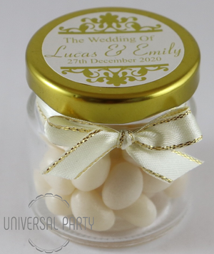 Personalised Glass Round 60ml Jar Filled With White Jelly Beans - Patterned