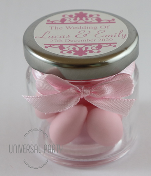 Personalised Round 60ml Jar Filled With Pink Sugared Almond